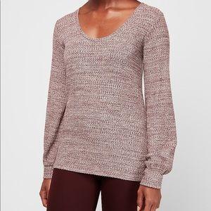 Express    waffle knit blouson sleeve easy tee